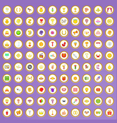 100 trophy and awards icons set in cartoon style vector