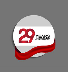 29 years anniversary design in circle red ribbon vector