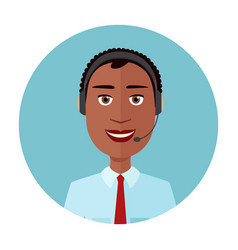 African american man call center operator vector