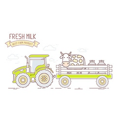 Agribusiness of farm tractor with green car vector