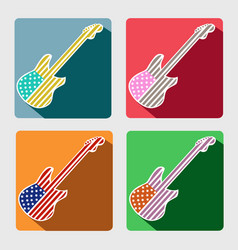 American guitar flat icons with long shadow vector