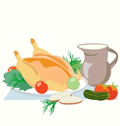 Baked chicken with greens Apple tomato cucumber vector image