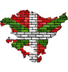Basque map on a brick wall vector