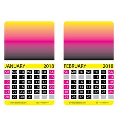Calendar grid january february vector