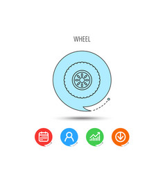 car wheel icon tire service sign vector image