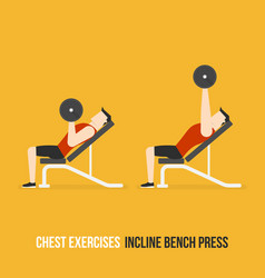 chest exercises incline bench press vector image
