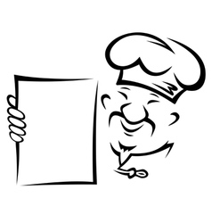 Chinese chef with blank menu paper vector