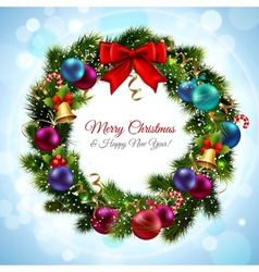 Christmas wreath postcard vector image