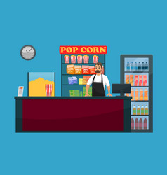 Cinema bar counter with snack popcorn and drinks vector