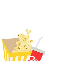 composition with popcorn and drink vector image