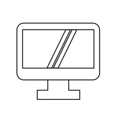 Computer screen device technology thin line vector