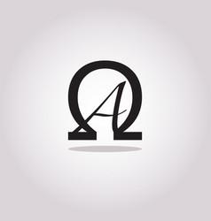 Conceptual symbolic alpha and omega icon brand vector