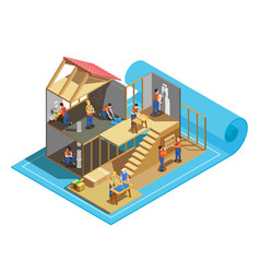 construction workers isometric composition vector image