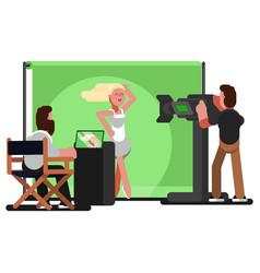 Crew filming a video clip vector