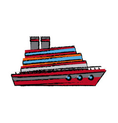 Cruise ship boat vacation steam transport vector
