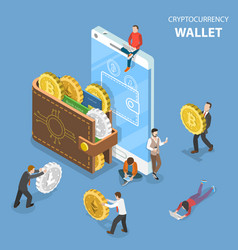 Cryptocurrency wallet flat isometric vector