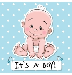 Cute cartoon baby boy vector