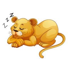 Cute lion sleeping alone vector