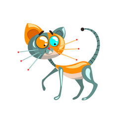 cute robotic cat artificial intelligence concept vector image