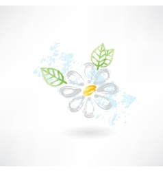 Daisy flower grunge icon vector