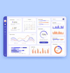 dashboard ui infographic data graphic and chart vector image
