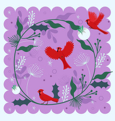 decorative composition with a bird red cardinal vector image