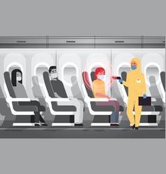 Doctor in hazmat suit checking airplane passengers vector