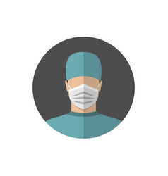 doctor wearing a medical mask flat style vector image