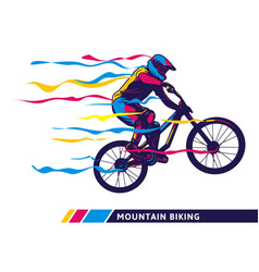 Downhill mountain bike motion colorful artwork vector