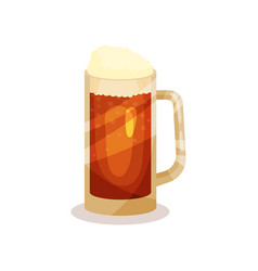 draft beer with foam in glass mug with handle vector image