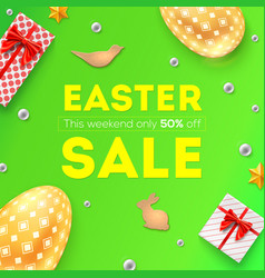 easter sale discount of 50 percent off pattern vector image