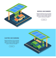 Electric cars charging banners vector