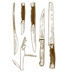 engraving knives set vector image