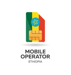 Ethiopia mobile operator sim card with flag vector