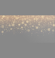 falling snow flake golden pattern background gold vector image