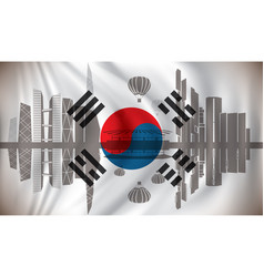 flag of south korea with seoul skyline vector image