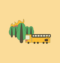 Flat icon on background forest fire truck vector