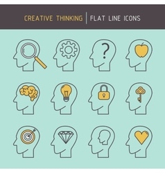 Flat line creative thinking vector
