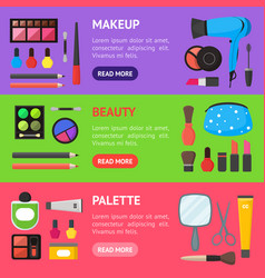 flat make up tools cosmetics mascara and brushe vector image