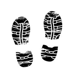 footprints and shoeprints icons in black and white vector image