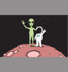 friendship astronaut and aliencolor version vector image