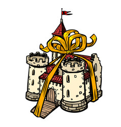 gift ribbon medieval castle fairy kingdom vector image