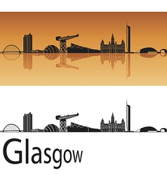 Glasgow skyline in orange background vector