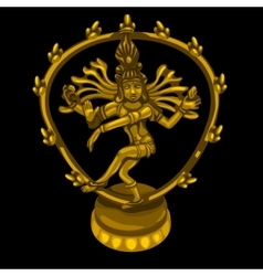 Golden figure of dancing Shiva vector image