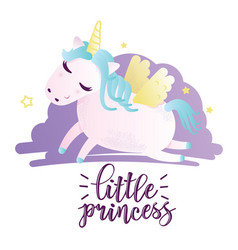 greeting card with little princess inscription vector image