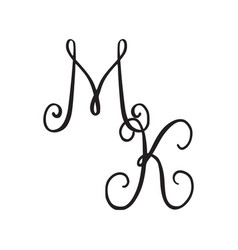 Handwritten monogram mk icon vector