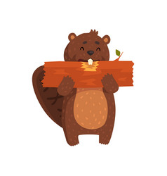 Happy little beaver eating piece of wood cartoon vector