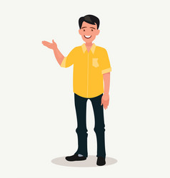 happy man points out something presentation or vector image