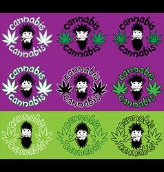 Happy relaxed rastafarian guy smoking marijuana vector image