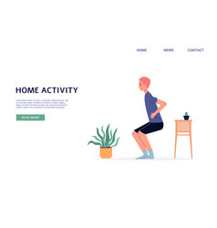 Home sport activity banner - man doing sit up vector